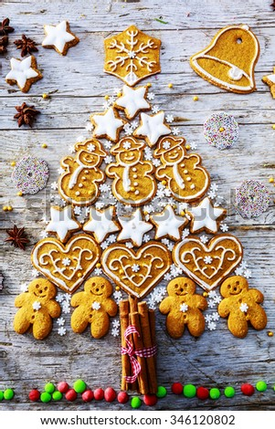 Christmas tree - homemade gingerbread cookies and Christmas decorations - stock photo