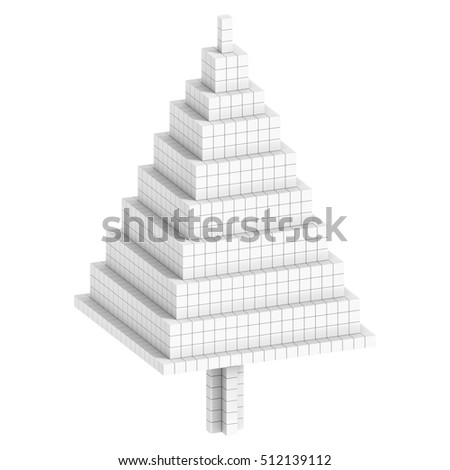 Christmas Tree icon 3D Illustration and Rendering volumetric pixel or voxel, isolated