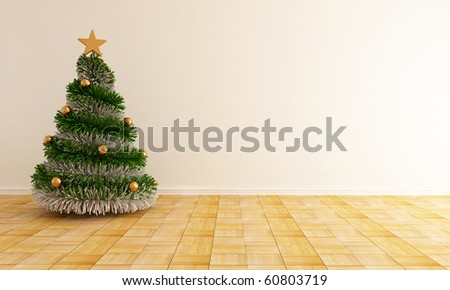 christmas tree with a star in a empty living room - rendering - stock photo