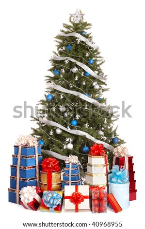Christmas tree with silver ,blue ball, group gift box.  Isolated. - stock photo