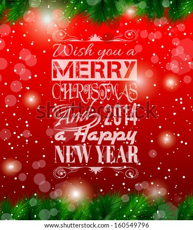 2014 Christmas Vintage typograph design with clean background - stock photo