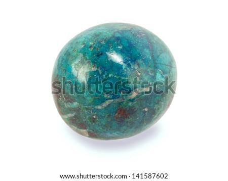 chrysocolla stone isolated on white - stock photo