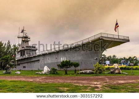 CHUMPHON, THAILAND - AUGUST 2,2015:The Royal Thai Navy CVH 911 Chakrinaruebet Model in Chumphon, Thailand - stock photo