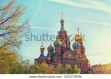 Church of the Savior on Spilled Blood (Cathedral of the Resurrection of Christ) in St. Petersburg, Russia. Travel background - stock photo