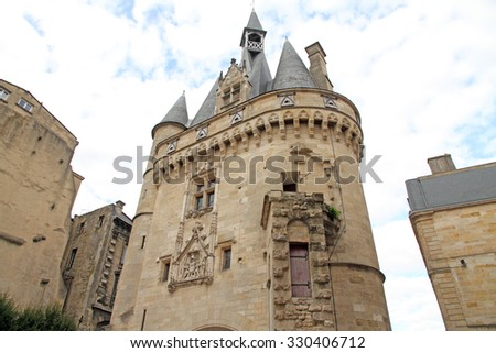 City Gate Porte Cailhau from Bordeaux, France - stock photo