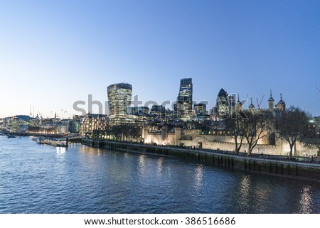 City of London skyline in the evening - LONDON/ENGLAND  FEBRUARY 23, 2016