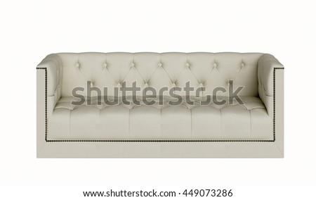 Classic fabric sofa isolated on white background, - stock photo