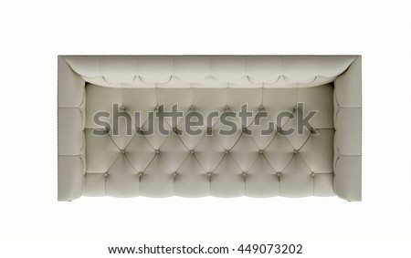 Classic fabric sofa isolated on white background. top view - stock photo