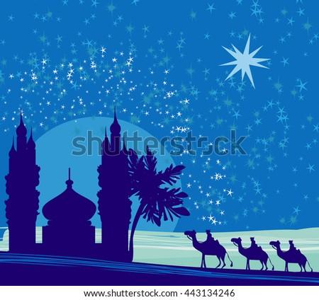 Classic three magic scene and shining star of Bethlehem,  - stock photo