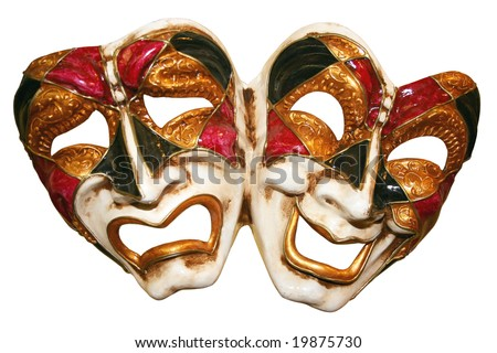 Classical theatrical  mask on a white background