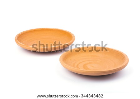 2 Clay dish on white background - stock photo