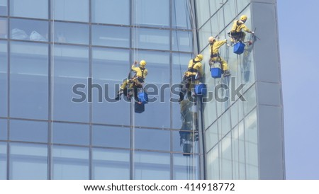 cleaning jobs on a skyscraper
