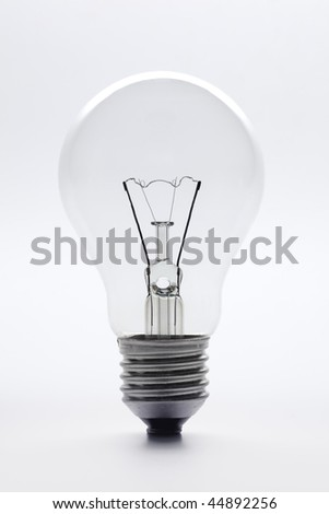 Clear lightbulb on white background