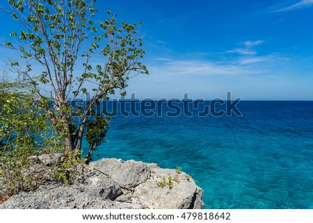 Cliff walk around Daaibooi beach -Views around the Caribbean island of Curacao in the ABC Islands
