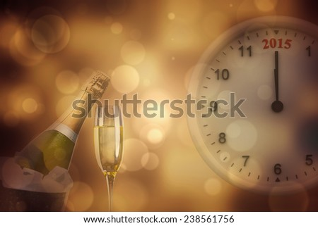 2015 clock against sparkling wine