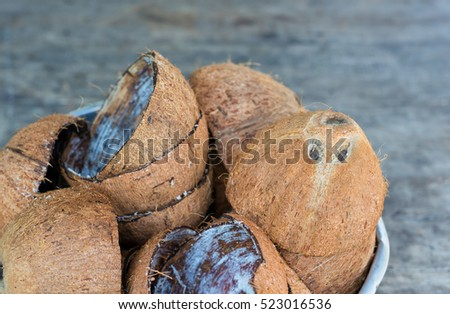 close up half coconut shell in a bowl