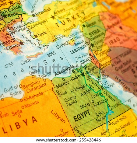 close-up macro image of map Egypt .Selective focus on Cairo - stock photo