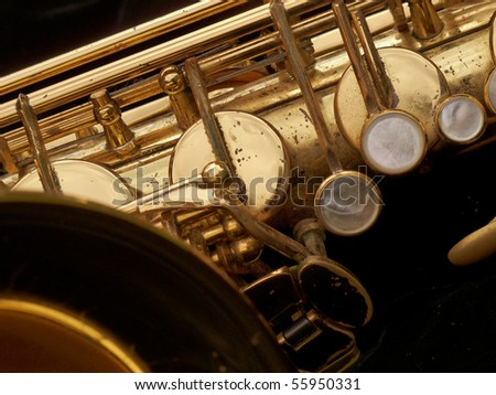 Close up of a well used tenor saxophone