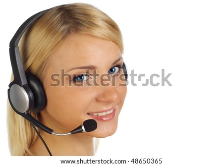 Close-up of operator with headset isolated on a white background