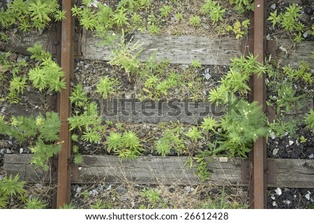 close up of  railroad track / abstract industrial background - stock photo