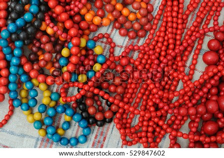 close-up of traditional colorful ukrainian wooden beads