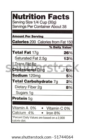 close up photo of a nutrition facts label - stock photo