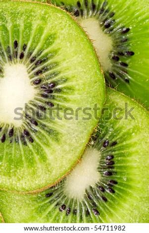 close up  slices of juicy kiwi fruit - stock photo