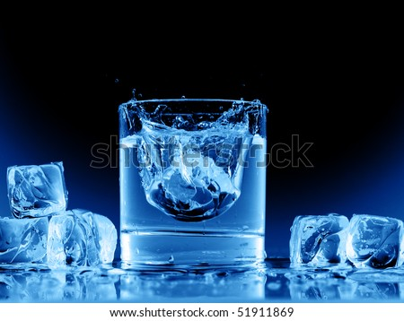 Close up view of the splash in water on black - stock photo