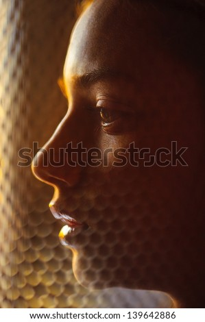 close up women face profile dramatic lights - stock photo