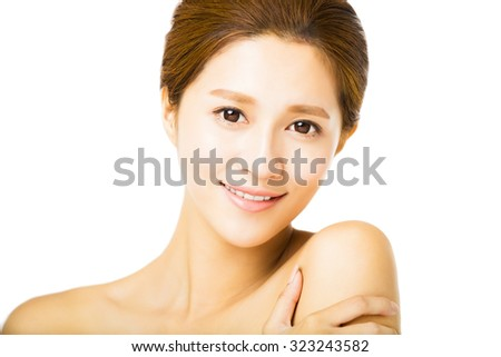 closeup beautiful young smiling  woman  face