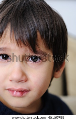 closeup of a boy's face - crying tears