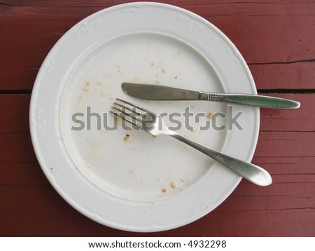 closeup of a place setting with empty  dinner-plate on desk (past dinner) - stock photo
