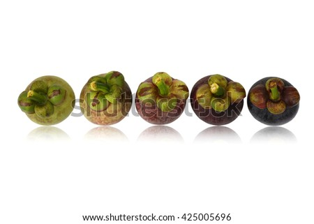 Closeup of raw and ripe mangosteen with isolated on white background