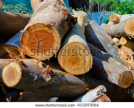 Closeup stack of chopped firewood - stock photo