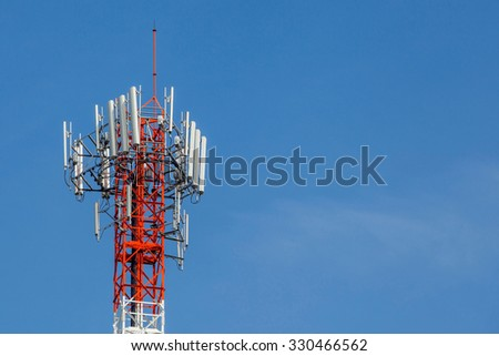 Closeup telecommunications tower with beautiful blue sky background.(left space for text). - stock photo