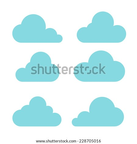 clouds collection on white background - stock photo
