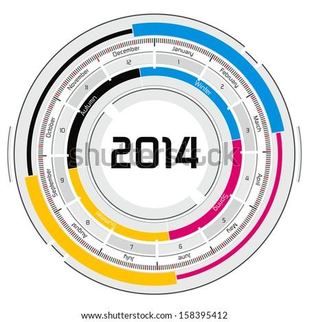 2014 CMYK circular calendar - futuristic concept design - stock photo