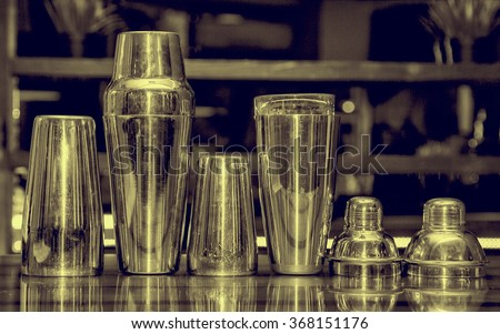 cocktail shaker, bartender tools, a set of equipment, bar, retro style, vintage, black and white photo toning