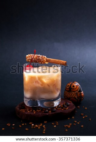 Cocktail .White Russian cocktail on black background - stock photo