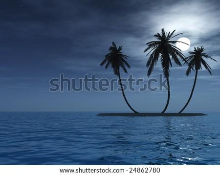 Coconut palm trees on small island - stock photo