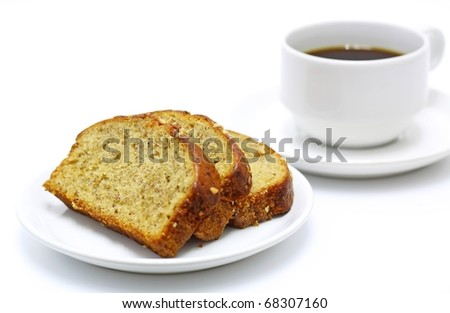 coffee and banana bread isolated on white background - stock photo
