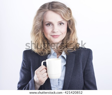 coffee break .woman isolated on white background studio portrait. Tea party. Isolated on white. Portrait of a beautiful blonde