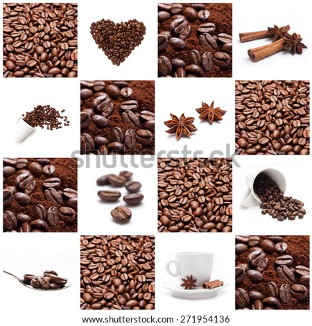 coffee with beans concept collage