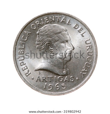 coin. twenty centimes Republic of Uruguay isolated on a white background. top view.avers
