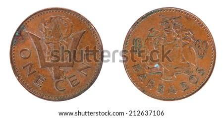 coins Barbados  1 cent - stock photo