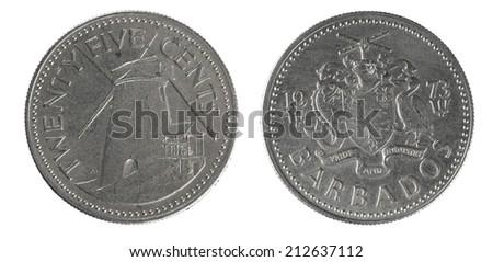coins Barbados 20 cents - stock photo