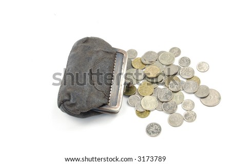coins from old suede purse on the white background - stock photo