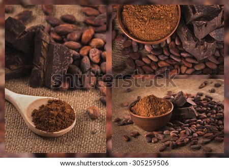 Collage. Cocoa beans and chocolate. Crude dark cocoa powder in a brown ceramic bowl, raw cocoa beans in the peel and raw chocolate on sacking close up, ingredients for preparing chocolate and sweets