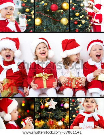 collage of colorful Christmas trees and images of children - stock photo