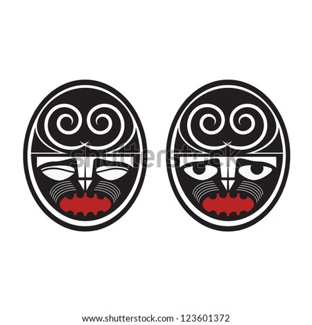 Collection of two different maori style faces - stock photo